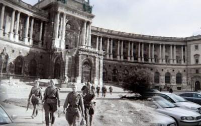 Комбинација на слики од Втората светска војна и сегашноста