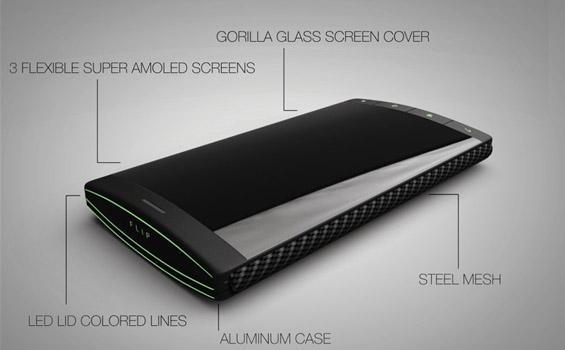 Преклопувачки телефон со 3 екрани