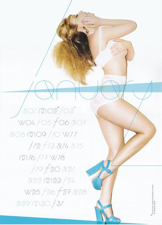 Кајли Миног со заводлив календар за 2012 година