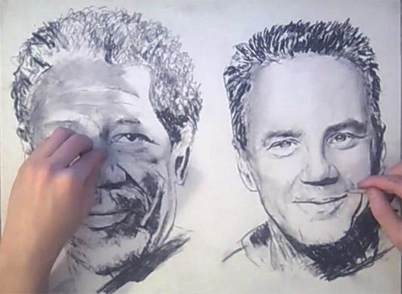 Уметник црта портрети со двете раце истовремено