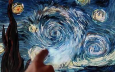 """Интерактивна репродукција на """"Ѕвездена ноќ"""" од Ван Гог"""