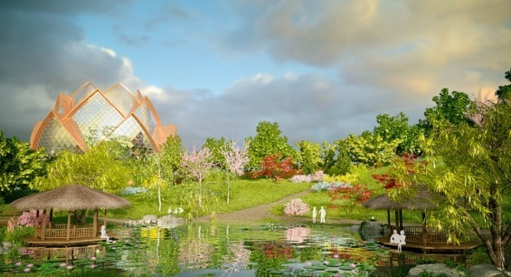 Небесен град на иднината во форма на лотосов цвет