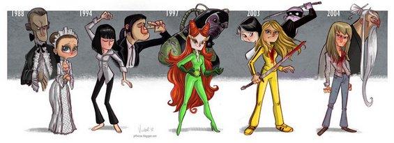 Забавни илустрации од еволуцијата на ликовите на најпознатите глумци и глумици