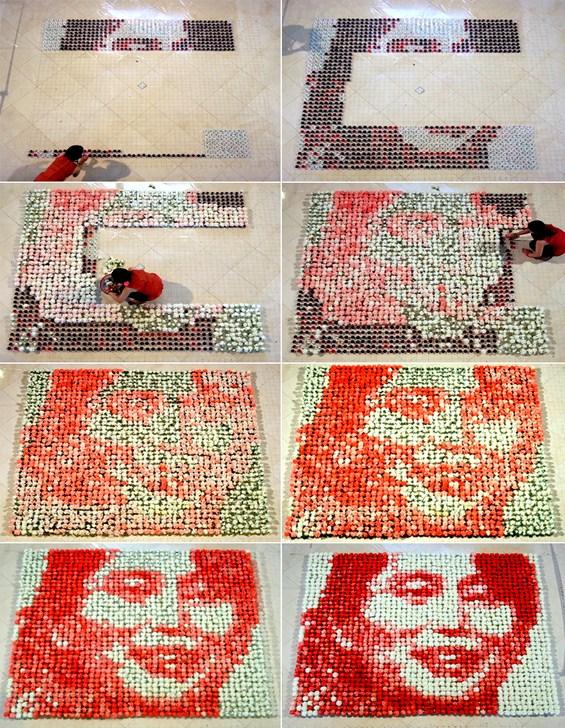 Неверојатен портрет направен од 2.000 каранфили