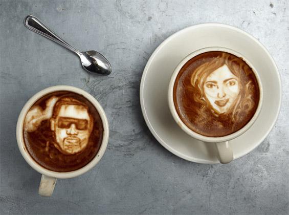 Портрети на познатите насликани во шолја кафе