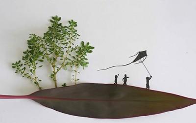 Нацртани сцени оживеани со елементи од природата