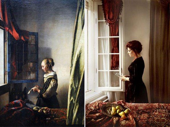 """""""Девојка која чита писмо крај прозорец"""", Вермеер - преработенo од Ванда Мартин"""