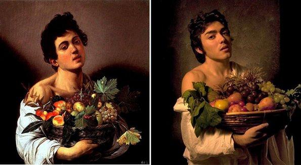 """""""Момче со кошница овошје"""", Караваџо - преработено од Гвидо Ричи"""