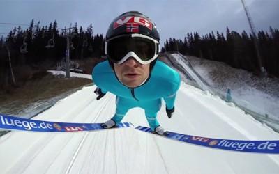 Неверојатен скијачки скок од кој ќе помислите дека летате