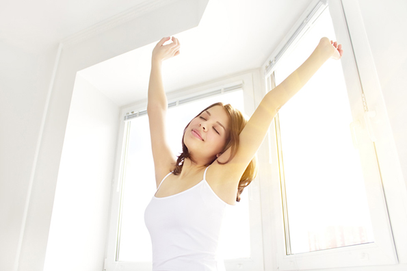 Girl stretching in the morning