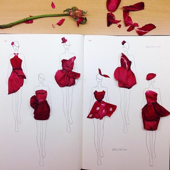 Креативни модни илустрации направени од цветни листови
