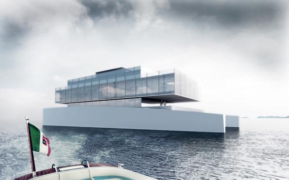 Прекрасно дизајнирана минималистичка јахта, составена од голем број на стакла