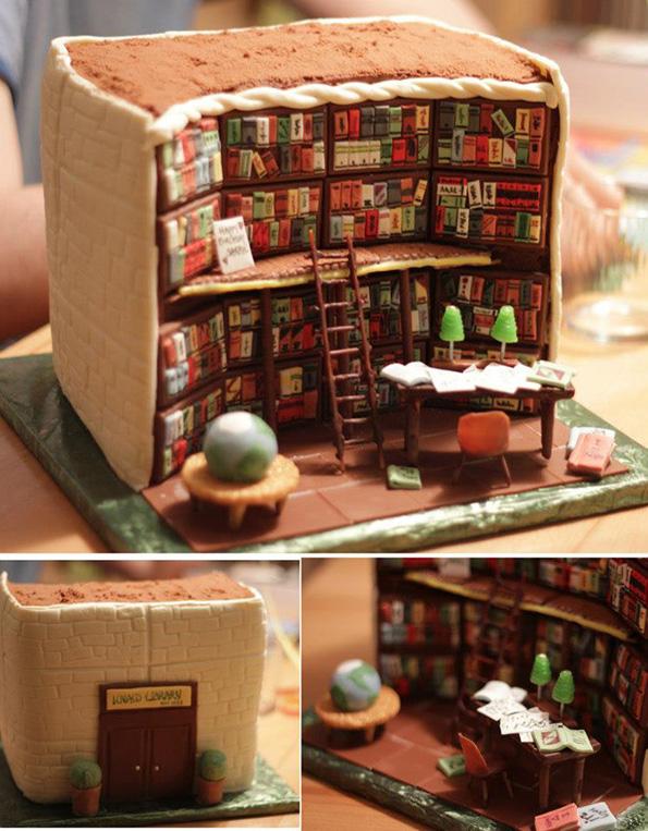 Неверојатно детално изработена торта изгледа како внатрешноста на библиотека
