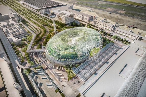 Аеродром во Сингапур опкружен со неверојатна стаклена градина и водопад