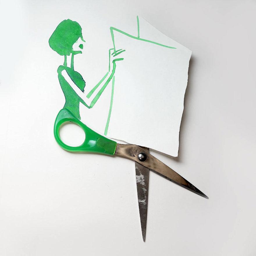 (1) Креативни цртежи надополнети со секојдневни објекти