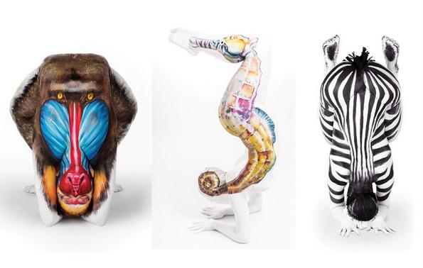 Девојка користи боја за да ги претвори човечките во тела на животни