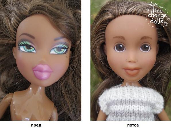 (1) Оваа жена ги трансформира нападно нашминканите кукли давајќи им природен, детски изглед