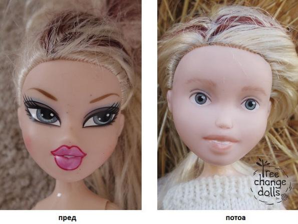 (2) Оваа жена ги трансформира нападно нашминканите кукли давајќи им природен, детски изглед