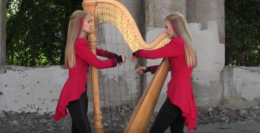 """Близначки свират на харфа: Неверојатен кавер на песната """"One"""" од Металика"""