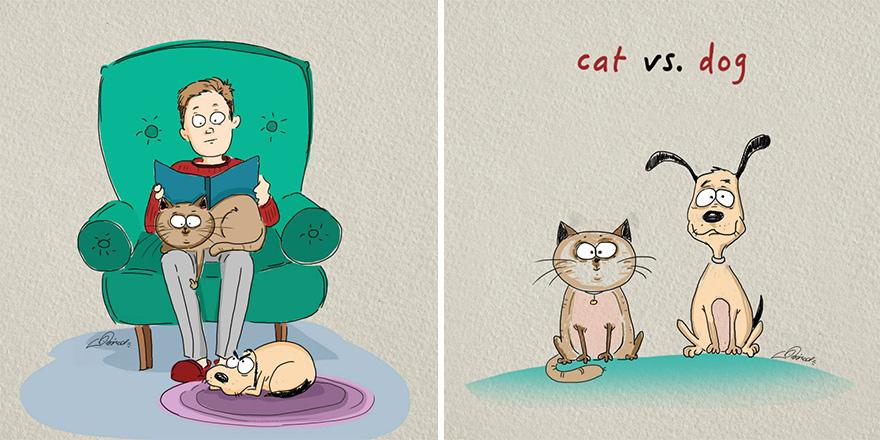 Мачки против кучиња: 6 илустрирани разлики