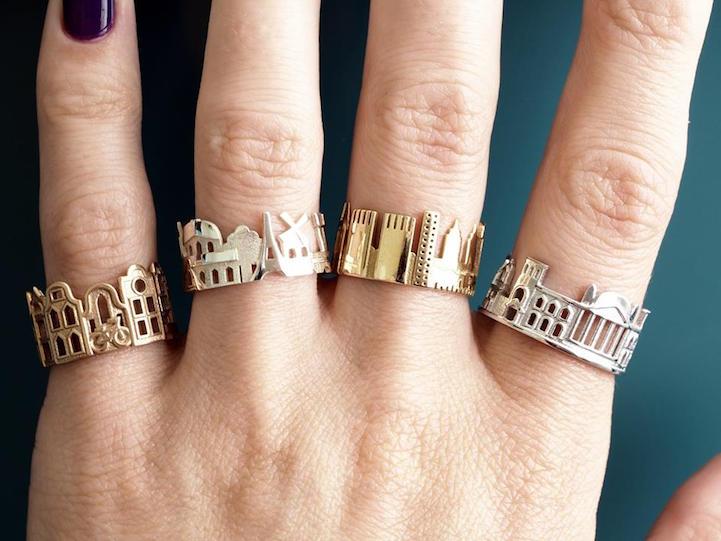 Рачно изработени прстени кои ја покажуваат архитектонската убавина на светските метрополи