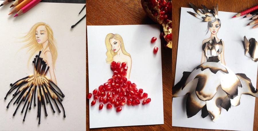 Моден илустратор користи необични предмети за да ги доврши своите цртежи