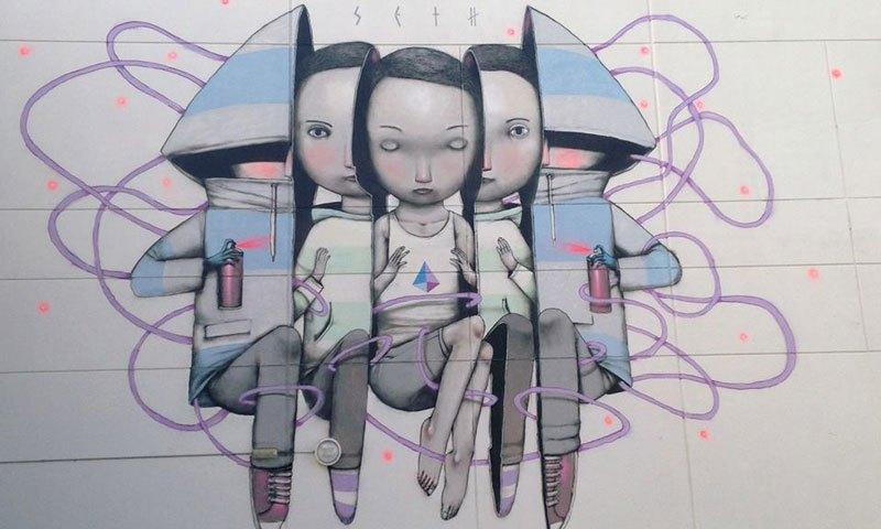 """""""Руски кукли"""" - Мајами, Флорида, дело на уличниот уметник Сет Глобпеинтер."""