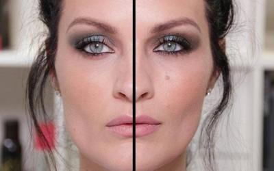 Дали можете да погодите која половина на лицето е нашминкана со евтина, а која со скапа шминка?