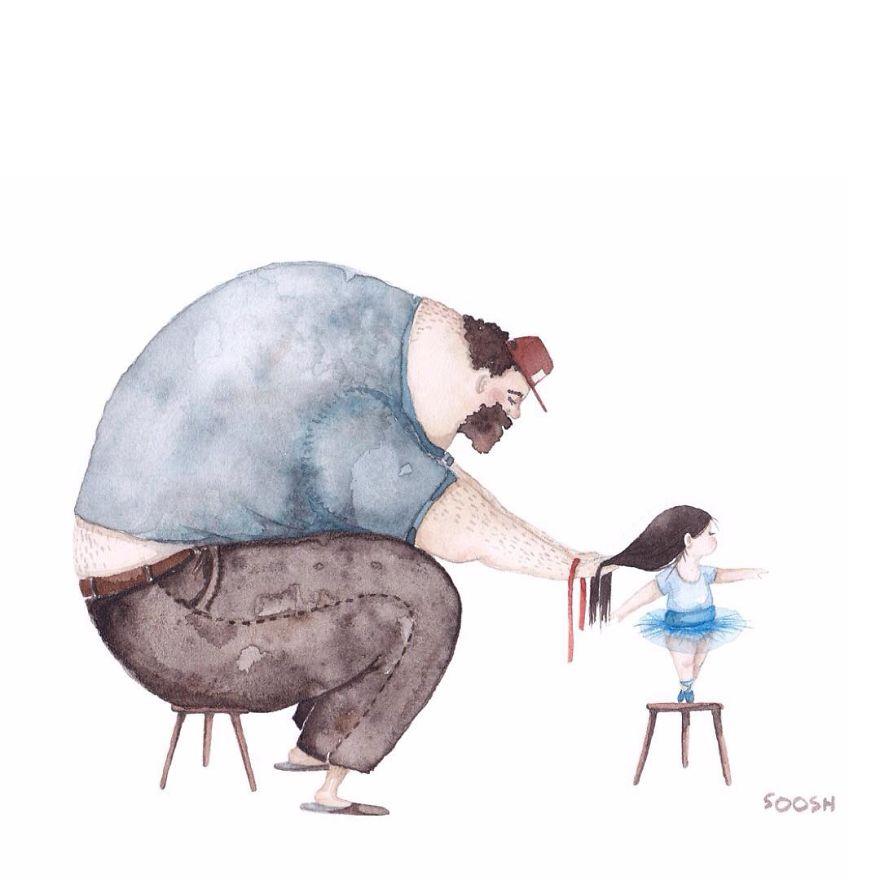 Татковците никогаш не се плашат да прават невозможни нешта за нас. На пример, кога треба да се научат како да ни ја плетат косата.