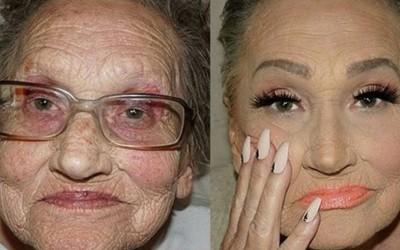 80-годишна бабичка доживува неверојатна трансформација благодарение на шминкерските вештини на нејзината внука