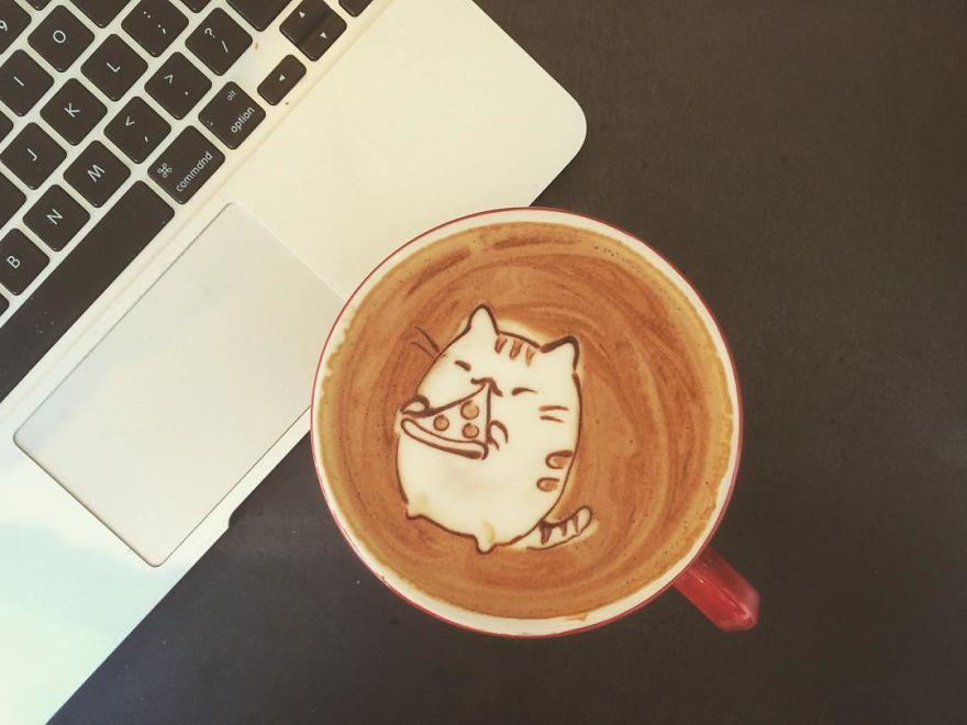 Кофеинска уметност: Слатки животинки, предмети и ликови од поп културата исцртани на кафе