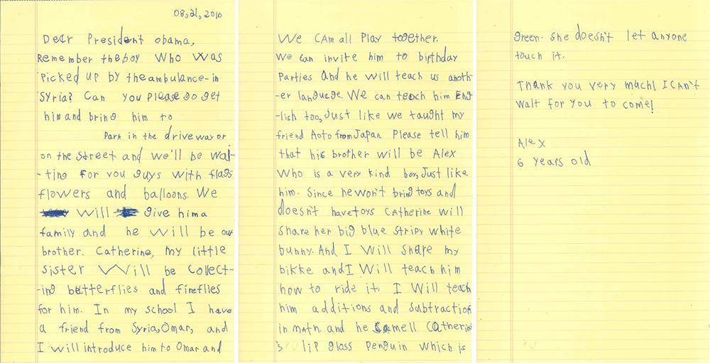 (2) 6-годишниот Алекс напишал писмо до Обама во кое го кани Омран, момчето од Сирија, во своето семејство