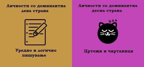 (2) 8 примери кои ја покажуваат разликата помеѓу луѓето кај кои доминира левата и оние кај кои доминира десната страна на мозокот