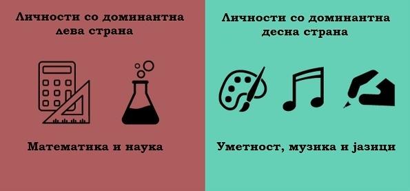 (3) 8 примери кои ја покажуваат разликата помеѓу луѓето кај кои доминира левата и оние кај кои доминира десната страна на мозокот