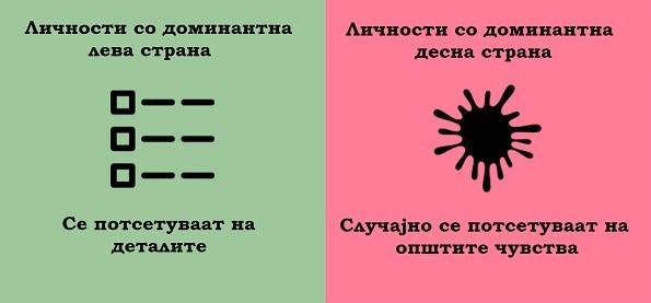 (6) 8 примери кои ја покажуваат разликата помеѓу луѓето кај кои доминира левата и оние кај кои доминира десната страна на мозокот