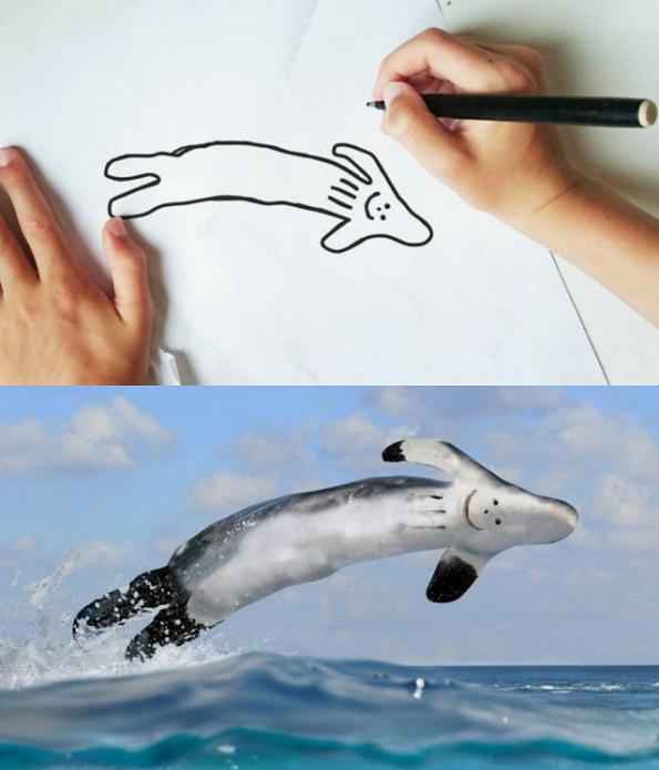 Татко ги претвора цртежите на својот син во смешна реалност