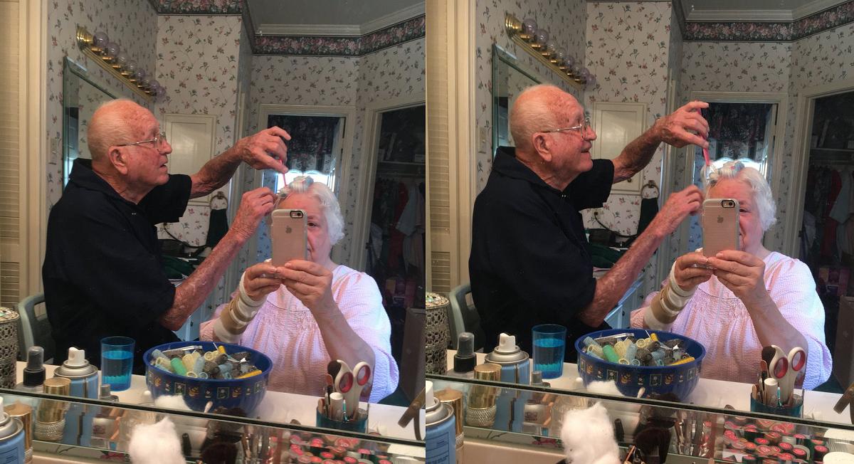 Старци во кои се заљуби целиот Интернет: Дедо ѝ помага на баба со својата фризура