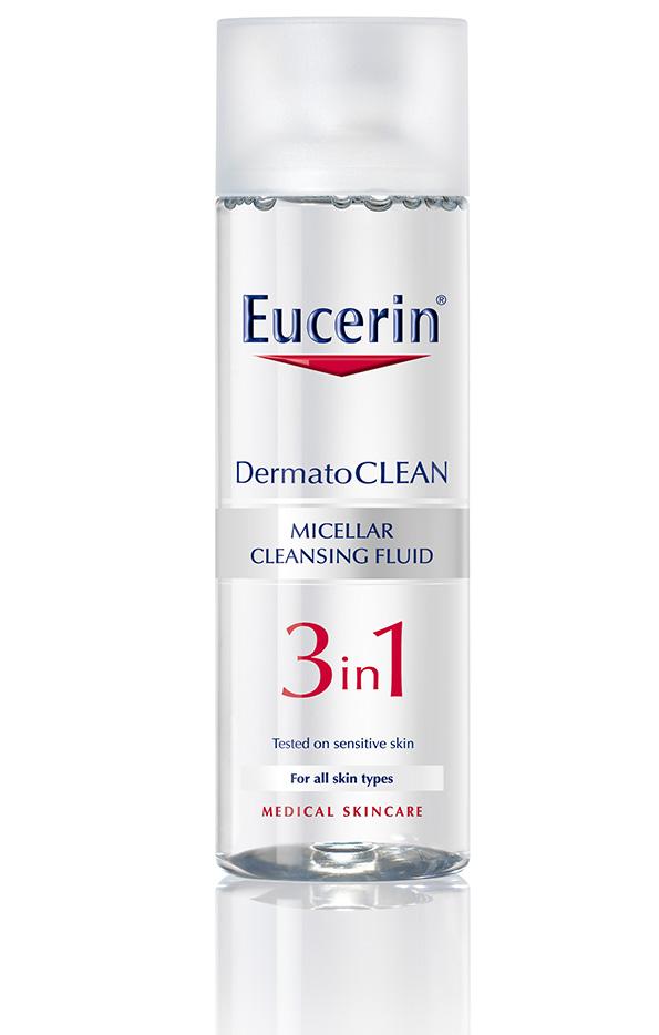 (2) Eucerin DermatoCLEAN 3-in-1 Micellar Cleansing Fluid: Го чисти лицето како гел, освежува како тоник и нежно и ефективно ја отстранува шминката