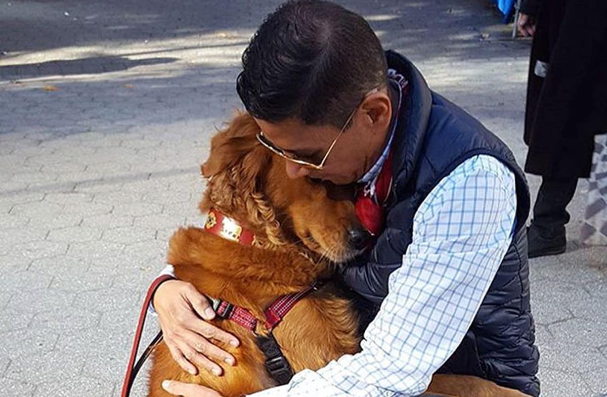 Погледнете го овој ретривер кој несебично им дели прегратки на сите луѓе што ќе ги сретне