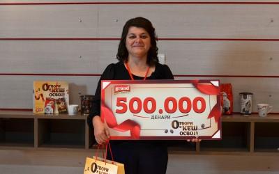 Гранд кафе ја додели првата главна награда од пола милион денари