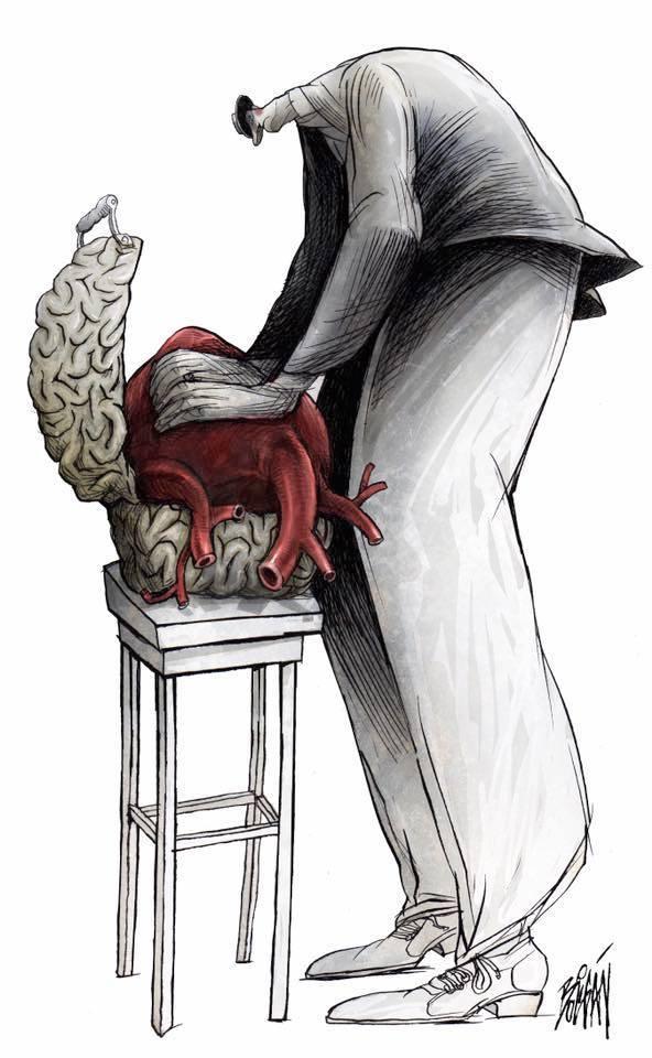 Илустрации кои покажуваат како главата на општествата владее со нивните срца