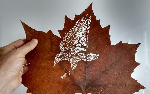 Необична уметност: Суви лисја претворени во деликатни уметнички дела!