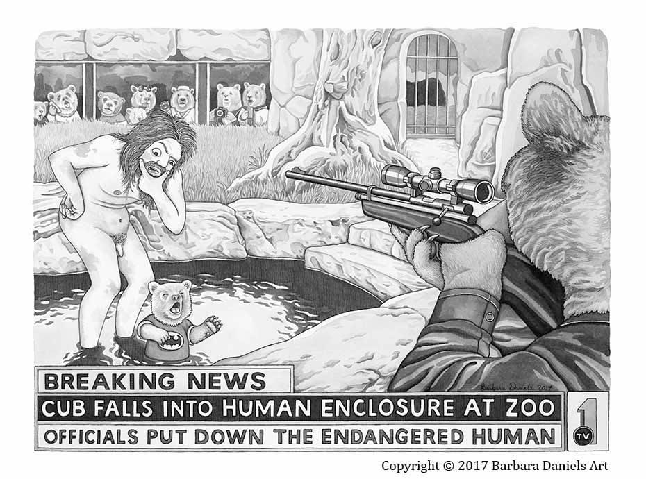 Моќни илустрации ни покажуваат свет во кој луѓето и животните си ги замениле местата