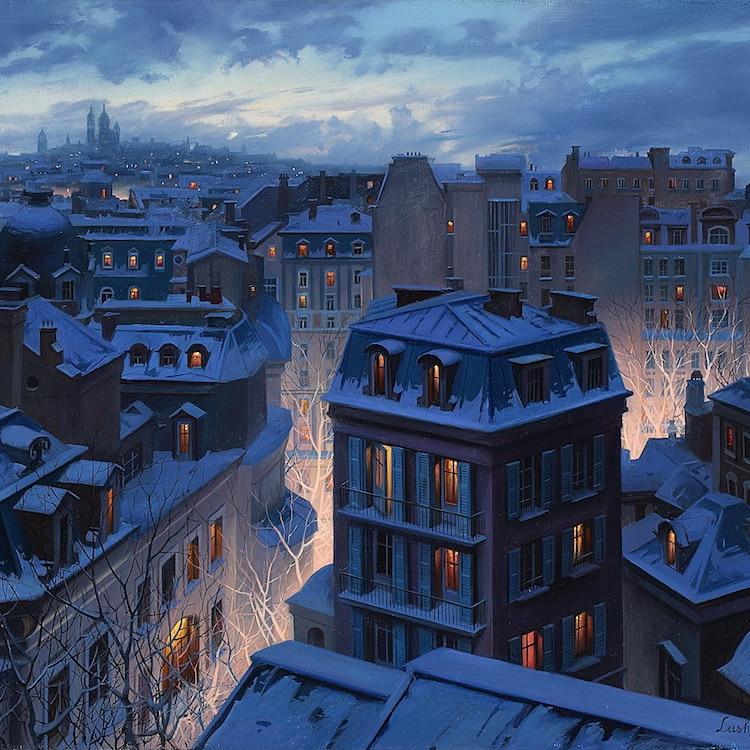 Неверојатни илустрации што ја доловуваат магијата на покривите на Париз