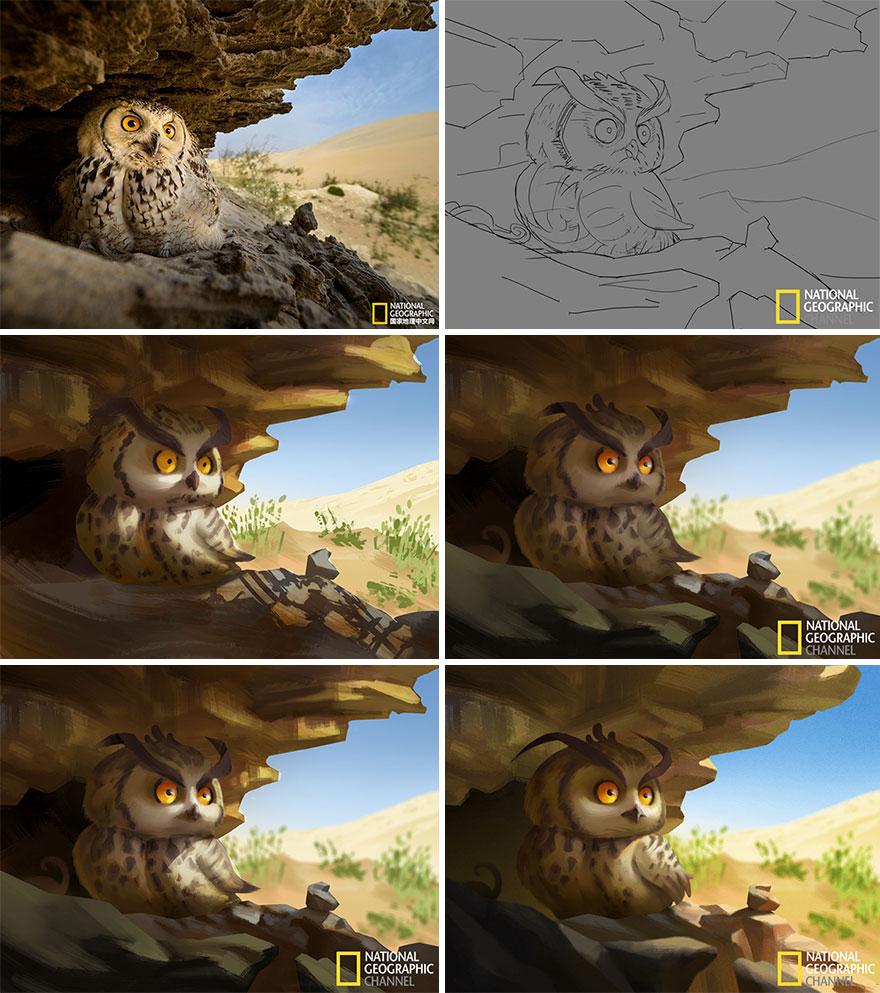 Уметник ги претвора фотографиите од National Geographic во слатки илустрации