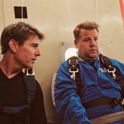 Том Круз го тера Џејмс Корден да скокне со падобран