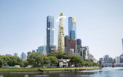 Дизајн на неверојатен облакодер што се издигнува како планина среде град