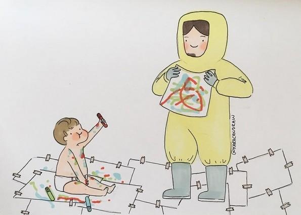 Сликарка ги претставува емоционалните моменти во родителството