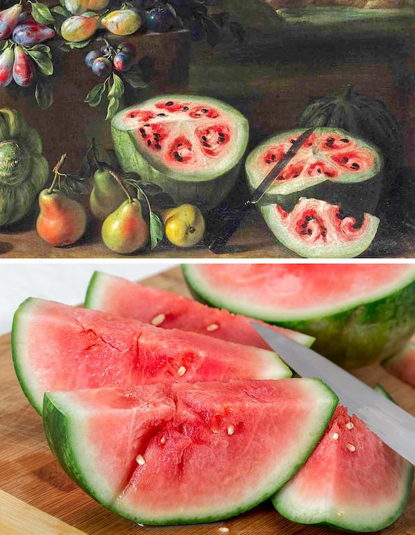Како изгледале овошјето и зеленчукот во минатото? Бананата сосема ќе ве изненади! (лубеница некогаш и денес)