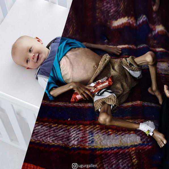 Фотограф комбинира фотографии за да го покаже контрастот помеѓу двата света во коишто живееме